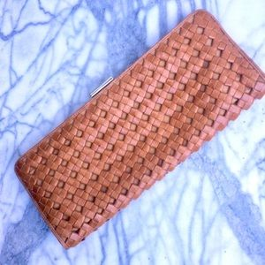 Bloomingdales Tan Leather Woven Clutch Intrecciato